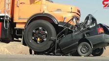 له شدن پراید زیر چرخ های کامیون؛ 4نفر کشته شدند